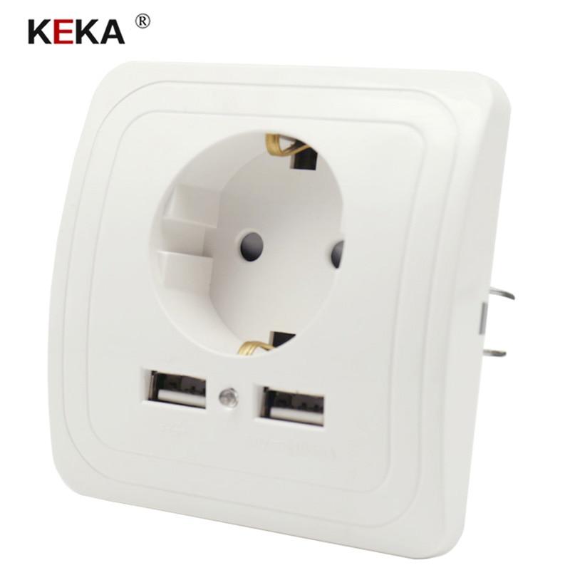 Keka ue tomada dupla porta usb tomada de parede carregador adaptador de carregamento 2a carregador de parede tomada de energia branco pop soquetes ce
