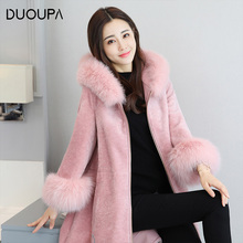 DUOUPA 2019 New Woman Quality of Long and Medium-length  Wool Overcoat Leather Coat Womens Medium-long Belt & Blends