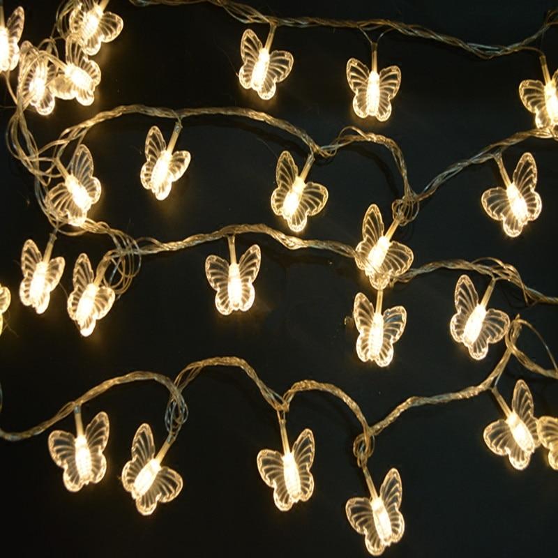 10M 38 LEDs butterfly led string lights AC110V/220V outdoor&indoor Christmas Lights Holiday Wedding Party Decotation lights
