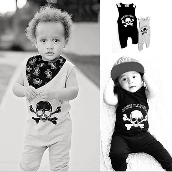 Skull bandits baby printed romper sleeveless baby girls jumpers and rompers Baby boy jumpsuit summer bebe born unisex 2018