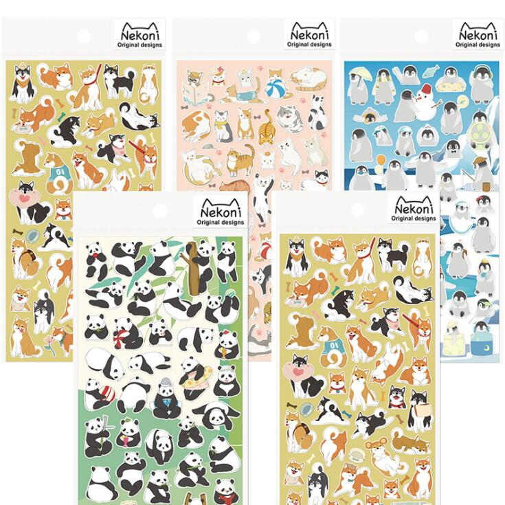 Japanese Style Shiba Cat Panda Penguin Adhesive Stickers Scrapbooking DIY Decoration Stickers Mobile Phone Stickers lovely panda animals stickers adhesive stickers diy decoration stickers