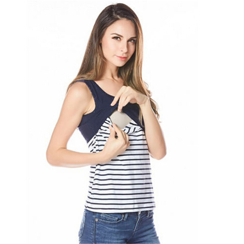 Fashion Cotton Nursing Tank Tops 2017 Summer Breast Feeding Vest Striped Tanks For Pregnant Women Maternity Breastfeeding Vest maternity vest top pregnant women wireless cami nursing tank top maternity camisole breastfeeding vest nursing tank top