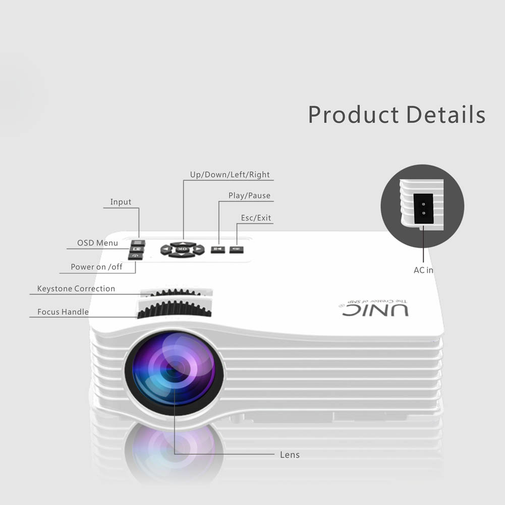 Ne New Portable Mini Home Theater LED Wifi Video Projector Beamer Proyector Support WiFi/USB/HDMI/SD/AV Connections eals