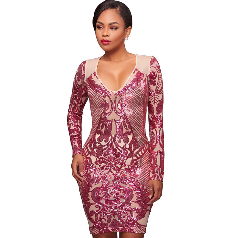 2149da6c69e 2018 Women Gothic Geometric Graphic Sequin Dress Party Night Club Dress  Sexy V-Neck Long