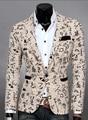 Горячие Продажа 2016 новых людей slim fit трехмерный разрез пиджак мужская Повседневная костюмы маленький Цветочный куртки пальто
