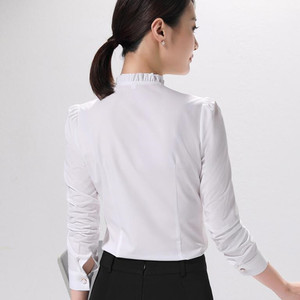 Image 4 - موضة جديدة المرأة قميص رسمي الأعمال ضئيلة الوقوف طوق بلوزة شيفون طويلة الأكمام الإناث أبيض رمادي زائد مكتب القمم