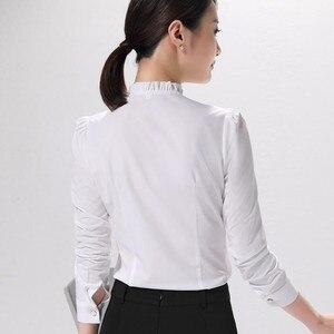 Image 4 - אופנה חדש נשים חולצה רשמית עסקים slim צווארון עומד ארוך שרוול שיפון חולצה נשי לבן אפור בתוספת משרד חולצות