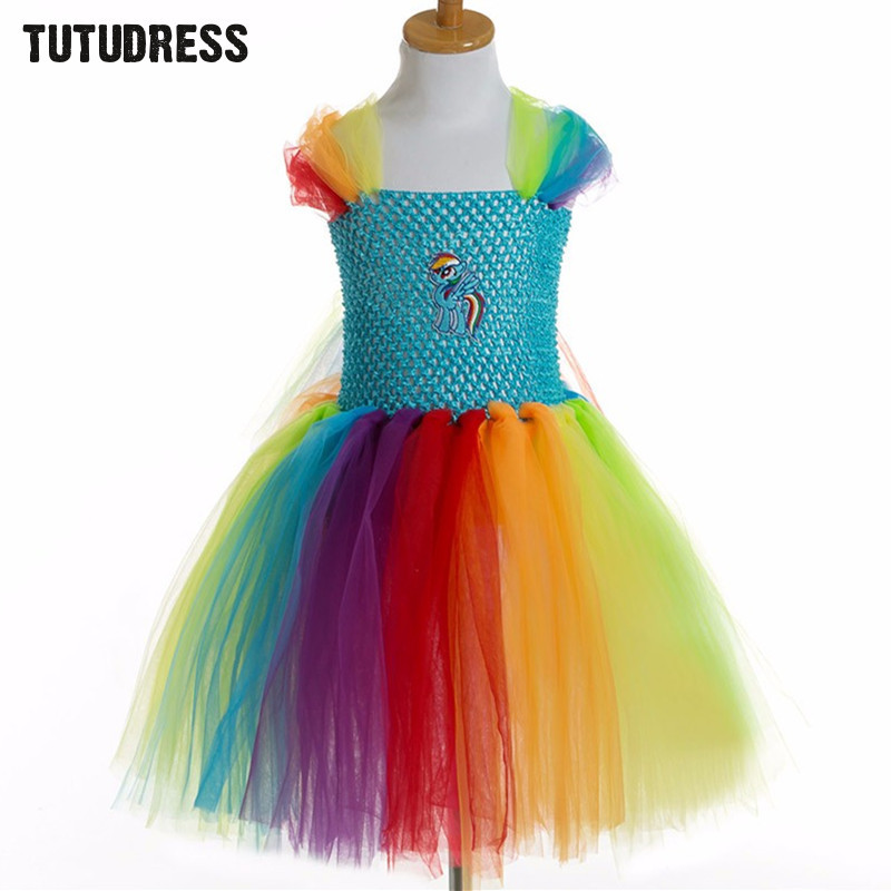 My little Horse Girl Tulle Tutu Dress Baby Kids Birthday Party Halloween Costume Newest  Princess Cartoon Girl Dress 2-12 Years baby girls tutu dress summer party little princess kids girl costume kids tulle formal dresses for age 3 7 8 10 to 12 years