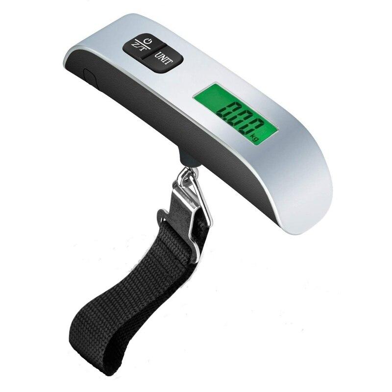 Balança eletrônica portátil para viagem, 50kg/lb digital, bagagem, mala de viagem, gancho para pendurar, medição