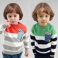 2017 nuevos niños niños rayas de bolsillo sudadera pullover Tops muchachos de los niños del resorte ocasional de manga larga T-shirt 2-6 años!