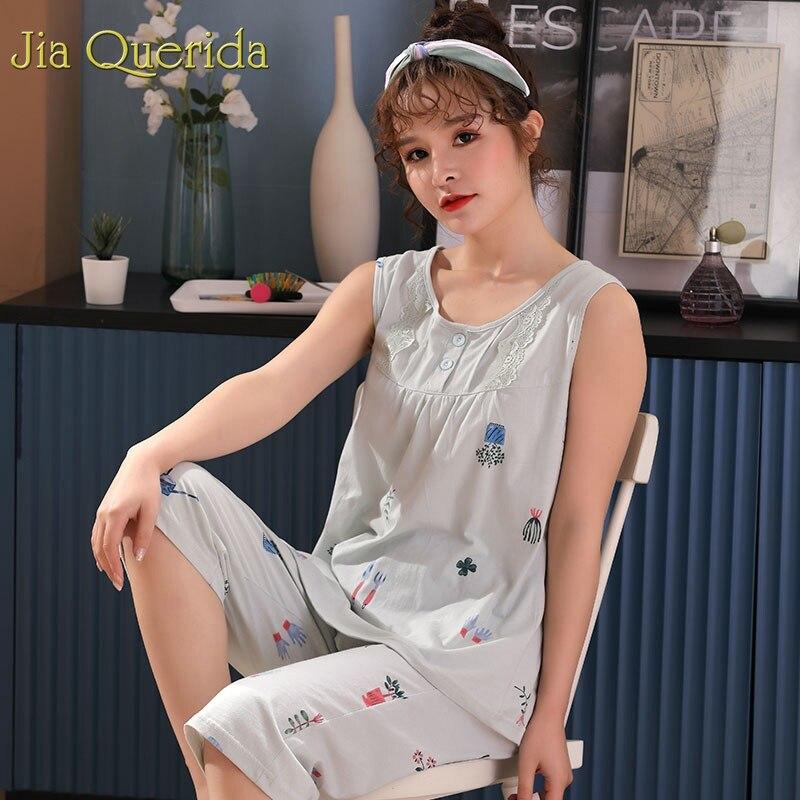 Image 4 - Homewear Pajamas for Women Summer Sleeveless Calf length Pants 100% Cotton Plus Size Floral Pyjama Female Cotton Pink Pijama SetPajama Sets   -