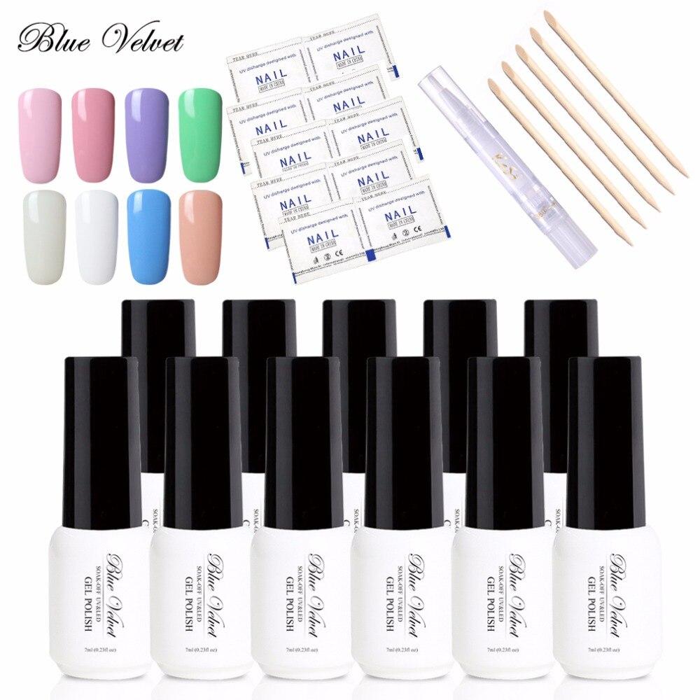 Blue Velvet 10Pcs 7ml One Step Gel Nail Polish + 5 Wood