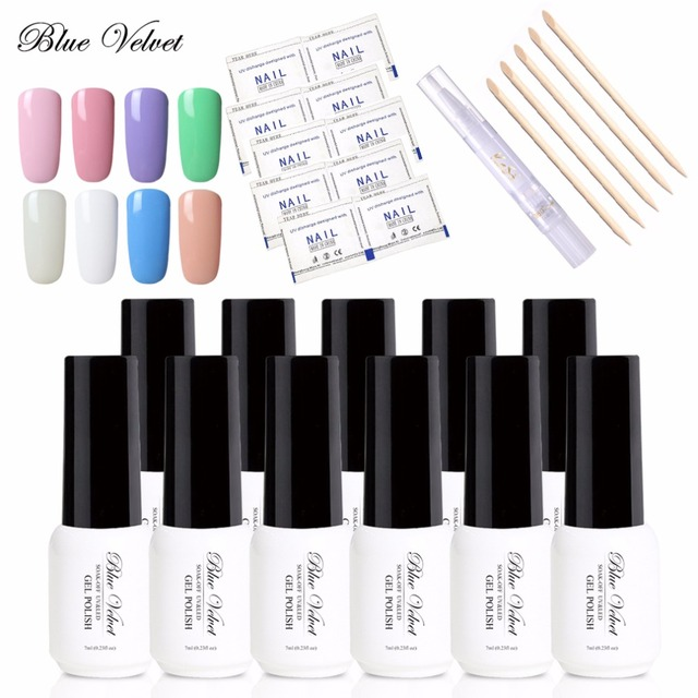 Blue Velvet 10Pcs 7ml One Step Gel Nail Polish + 5 Wood Stick + 1 ...