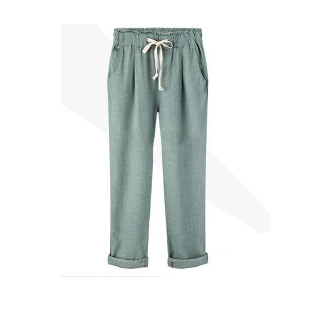 2017 New Girl Pants Women's Cotton Linen Elastic Waist Trousers High Quality Casual Clothing for Female Large Size Harem Pants
