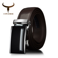 COWATHER Cow Genuine Leather Men Belts 2017 Automatic Buckle Black Brown Strap For Male Fashion Waist