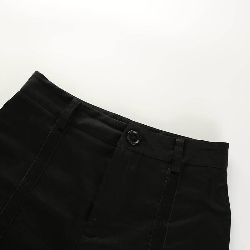 11 Sweetown黑色弹性高腰修身短裤Hotpant性感街头风丝带迷你短裤2018夏季时尚短裤Feminino