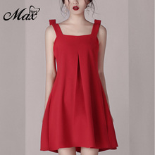 Max Spri 2019 Style Women Dress Spaghetti Strap Backless Sexy Dress Solid Red Color Draped Mini Women Party Dress все цены