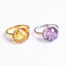 wholesale natural gemstone jewelry 925 sterling silver yellow purple crystal engagement adjustable ring for women