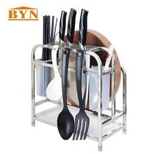 BYN Kitchen Knife Organizer Stand Knife Block Rack Holder Cutting Board and Kitchen Utensils Draining Holder Organizer Rack