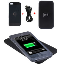 Black Qi Wireless Charger Transmitter Pad Mat +Wireless Charging Back Receiver Case Kit For iPhone 4 4S 5 5S SE 6 6S 7 Plus