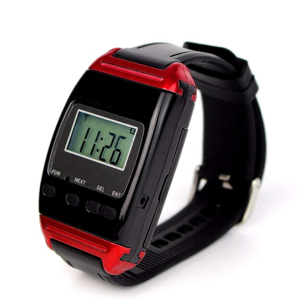 TIVDIO Wireless Calling Watch Receiver Call Pager System for Restaurant Hospital Waiter Nurse F4488A tivdio wireless restaurant calling system waiter call system guest watch pager 3 watch receiver 20 call button f3300a