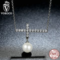VOROCO Vintage 925 Sterling Silver 45 CM Link Chain Fashion Cross Pendant Necklace For Women Jewelry SCN062