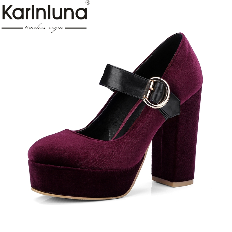 Karinluna 2018 Big Size 32-42 Mary Janes Spring Women Shoes Pumps Sexy high-heeled Buckle Party Wedding Pumps Shoes Woman esveva 2017 women pumps mary janes spring autumn shoes square high heel pumps flock party wedding women shoes big size 34 43