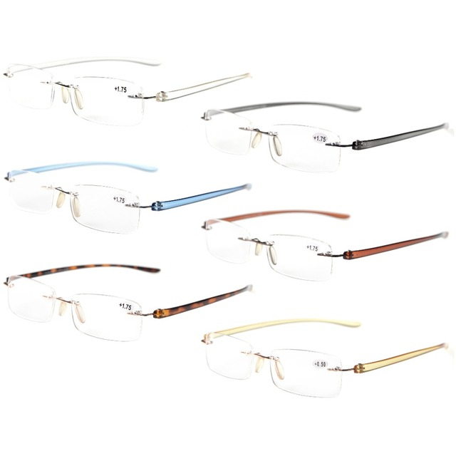 be3b1b58f95 R14001 Mix Eyekepper 6-Pack Mix Color Small Lenes Rimless Reading Glasses + 0.50----+4.00