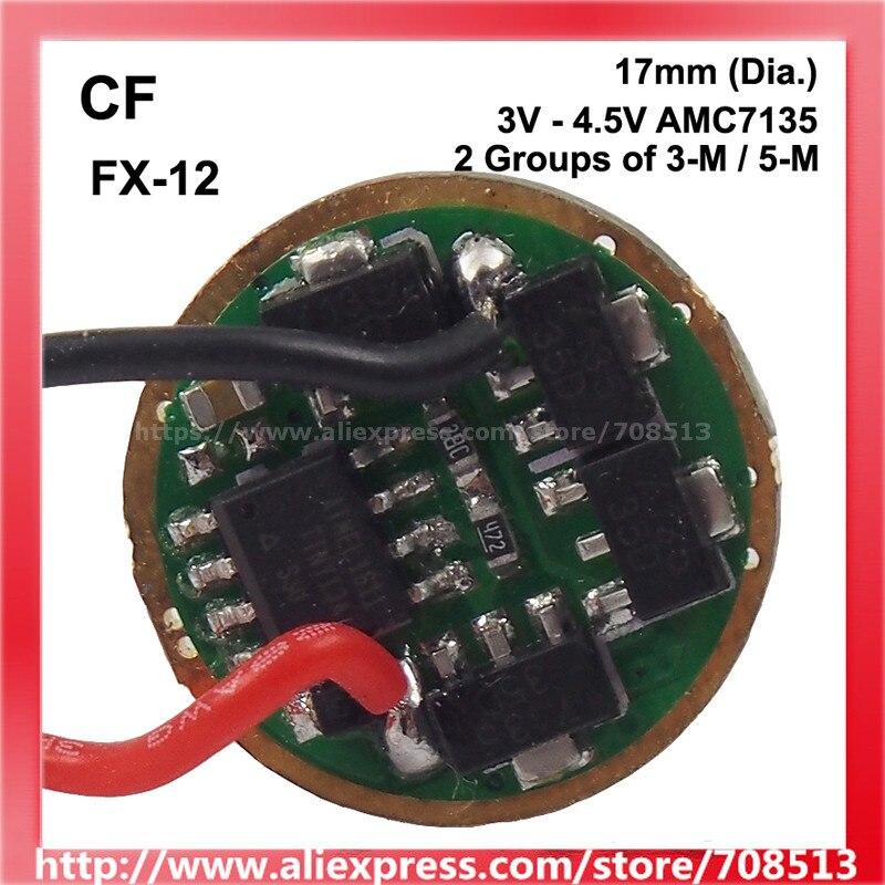 CF FX-12 17mm 3V-4,5 V 4/ 6/ 8 x AMC7135 2 grupos de 3 - 5 modos de placa de circuito del controlador (1 pc) 300 M al aire libre SC UPC 4 núcleos 3 acero gota óptica Cable de conexión modo único dúplex G657A FTTH Drop cable de puente de fibra óptica