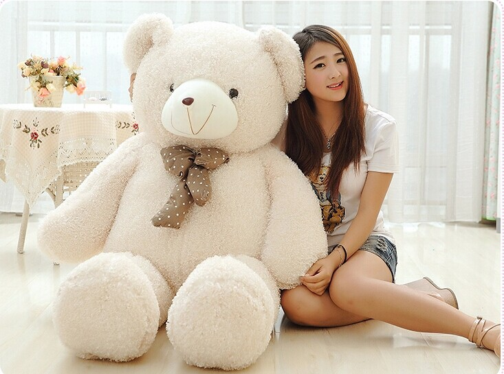 huge lovely teddy bear doll candy colours teddy bear with spots bow plush toy doll birthday gift beige about 160cm цена и фото