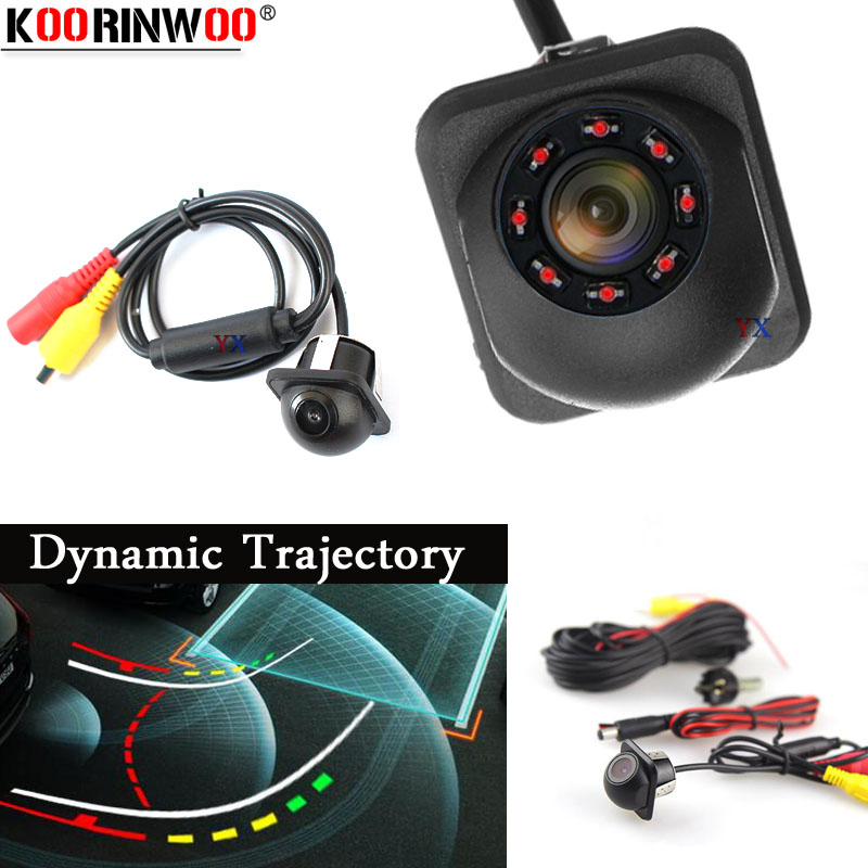 Koorinwoo HD CCD Dynamic Trajectory Moving Parking System Trunk Car Rear View Camera IP68 Backup 8 IR Lights Night Vision 12V