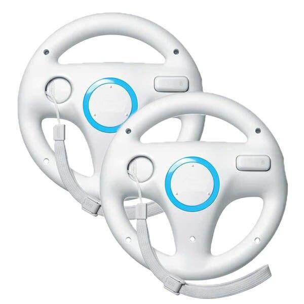 2 x pcs Weiß Lenkung Mario Kart Racing Wheel für Nintendo Wii...