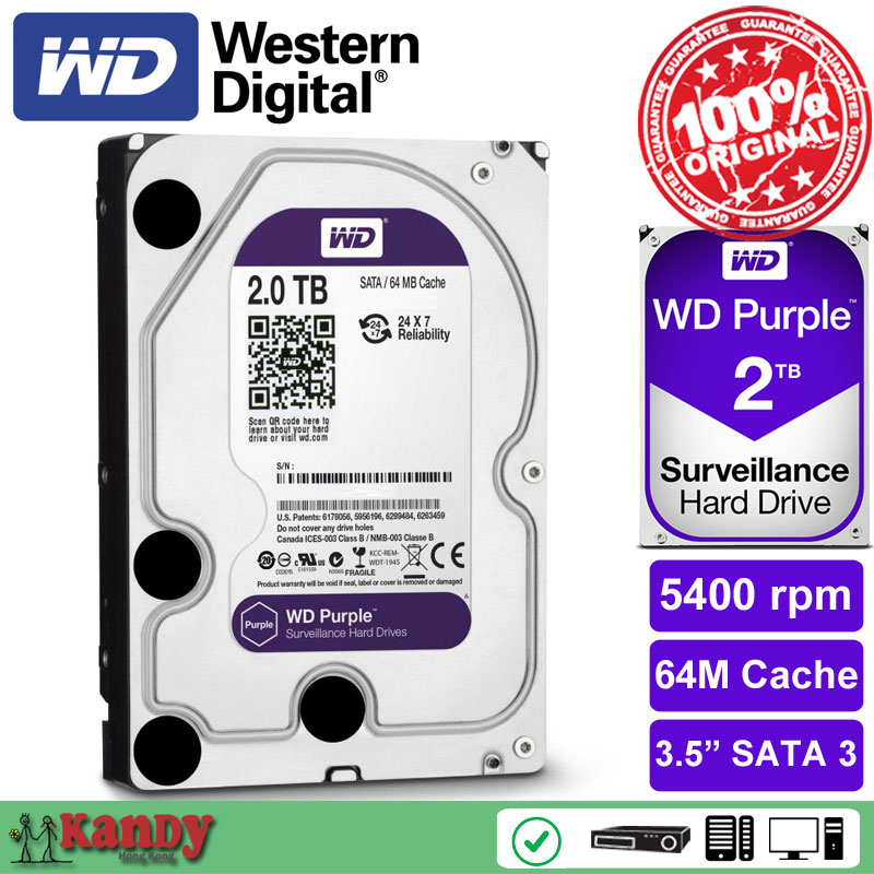 Western Digital WD Purple 2TB hdd NVR system sata 3.5 Surveillance internal hard disk security systems disque dur desktop server