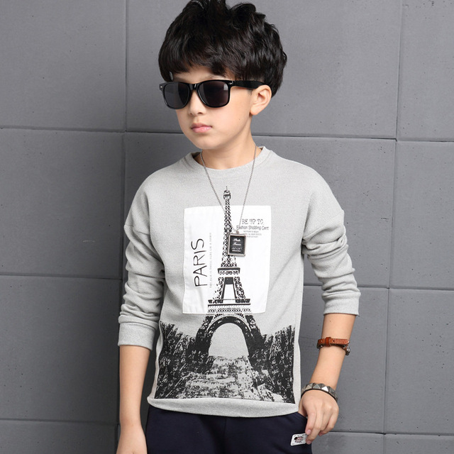 New Design Spring 2016 Boys Print T-Shirts Fashion Letter O-Neck Long Sleeve Tops Tees For 4-13Y Children's Boys Clothes