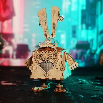 Robotime 5 Arten Fan Drehbaren Holz DIY Steampunk Modell Gebäude Kits Montage Spielzeug Geschenk für Kinder Erwachsene AM601