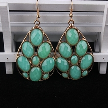 Msyo Vintage Classic Women Big Exaggerated Green Acrylic Drop Earrings Real 18K Gold Plated Pendant Earrings