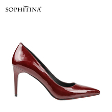 SOPHITINA Elegent Pumps Bordeaux Red Patent Leather Thin Heels Pointed Toe Girl Wedding Pumps High Heel Sheepskin Shoes Women W2