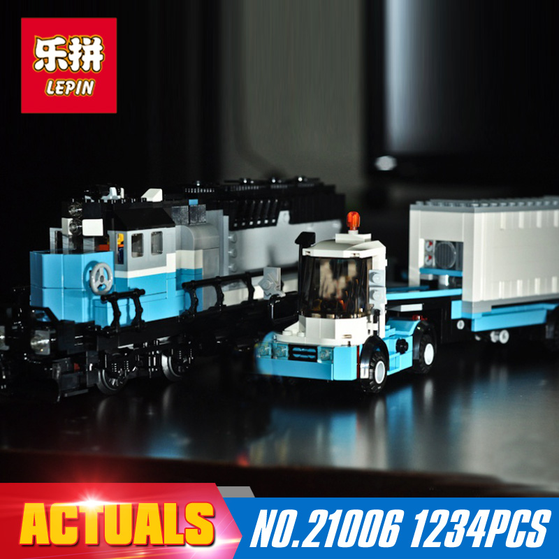 1234Pcs 21006 Lepin Genuine Technic Ultimate Series The Maersk Train Set Building Blocks Bricks Educational 10219 Holiday Toy lepin 21006 compatible builder the maersk train 10219 building blocks policeman toys for children