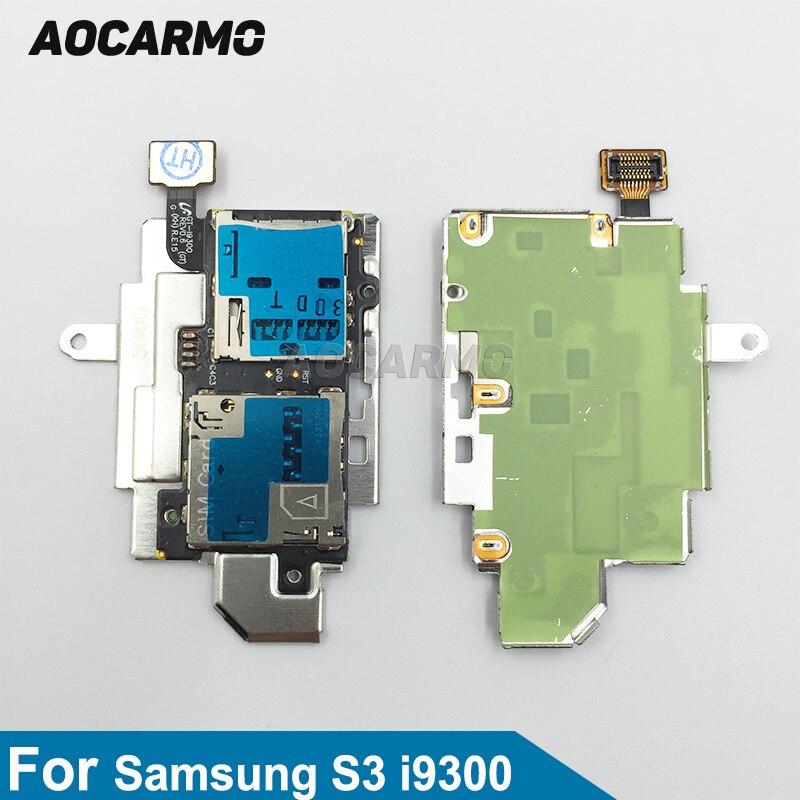 Aocarmo SD Sim Card Reader Holder Slot Flex Cable Ribbon For Samsung Galaxy S3 GT I9300