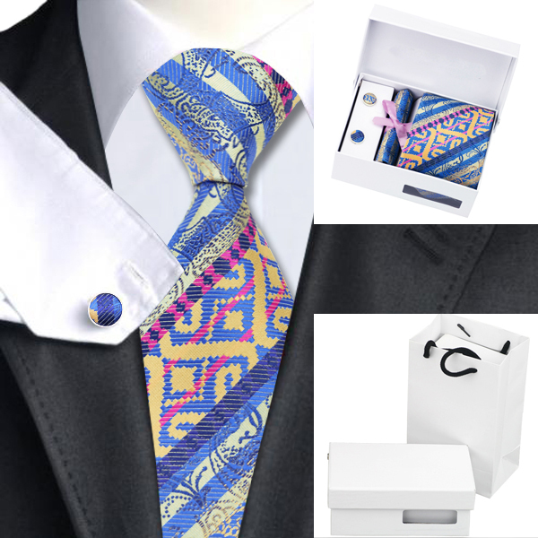 2016 Nova Marca Mens Laços Verde Azul e Amarelo Cor Misturada Laços Para Homens gravata Lenço Abotoaduras com Caixa Branca Saco B-1195