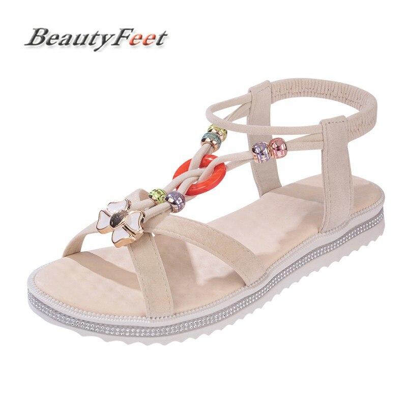 BeautyFeet Femmes Chaussures Sandales Confort Sandales D'été Flip Flops Mode Haute Qualité Plat Sandales Gladiateur Sandalias Mujer