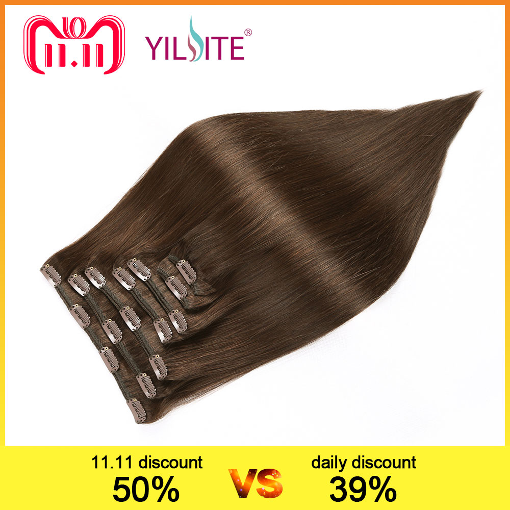 YILITE Double Drawn European Remy Human Hair Silky Straight Full Head Clip in Hair Extensions 7pieces 14inch-16inch Brown Colors