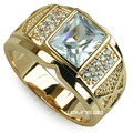 Men's 18K Yellow Gold Filled Ring Clear Zirconia Cubic Size 8-15  r206