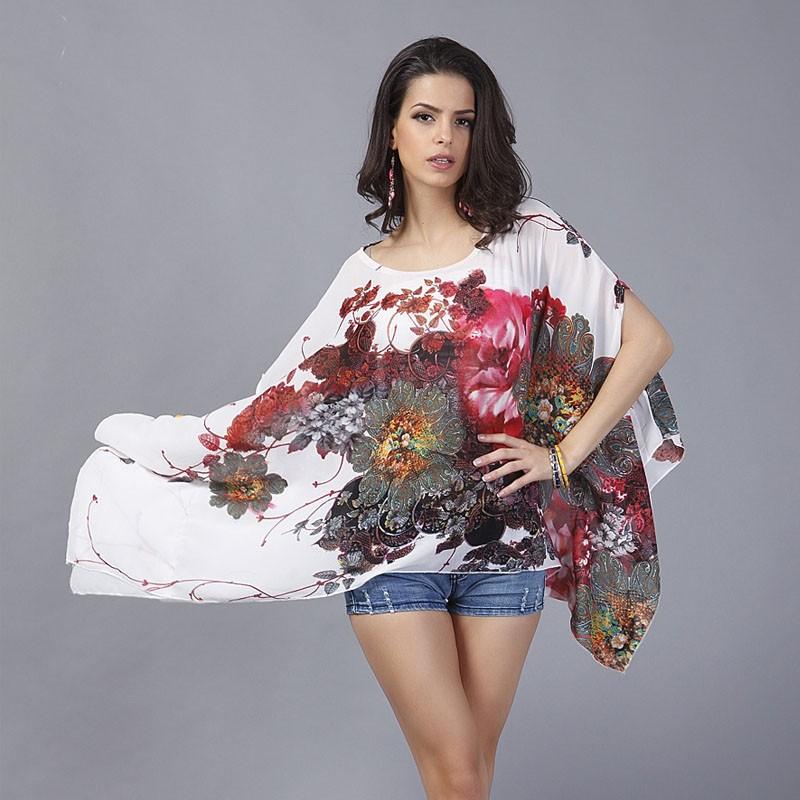 HTB1UEJ1LXXXXXapXFXXq6xXFXXXj - Boho Batwing Sleeve Chiffon Blouse Women Casual Floral Kimono Shirts