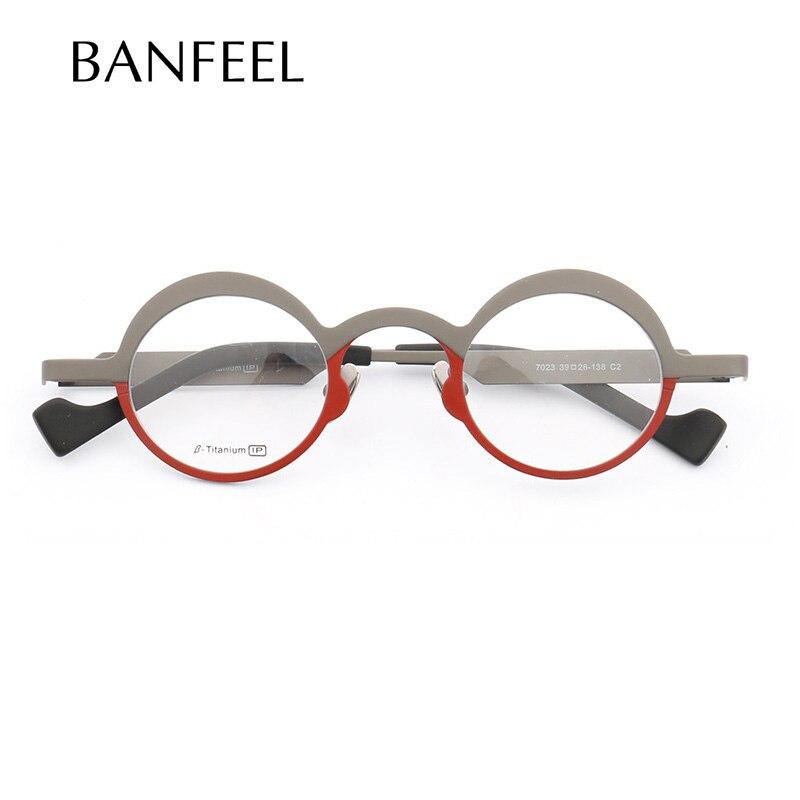MUZZ Super léger titane pur montures lunettes hommes optique irrégulière petit rond plein jante cadre myopie Prescription clair Len
