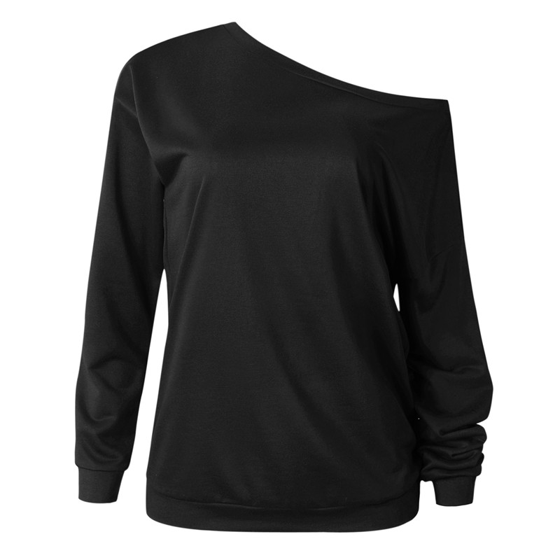 19 New Autumn Long Sleeve Women Casual Sweatshirts Off Shoulder Black Gray Tops Sweatshirts Streetwear Female Loose Sweatshirt 6