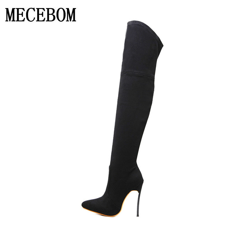 2018 new Fashionshoes Autunm winter Over Knee Boots Women pointed Toe Stretch boots Elastic Stretch Thick Heel High Riding 226W