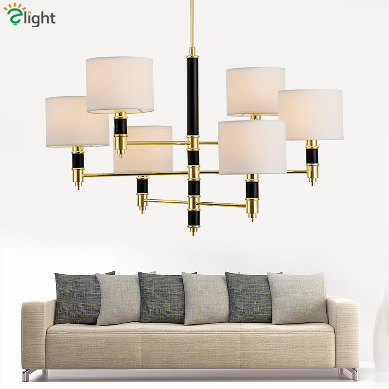 Europe Luxury Plate Shiny Gold Metal Lustre Led Chandeliers Blue Glass  Fabric Shades Led Pendant Chandelier Lamparas Fixtures