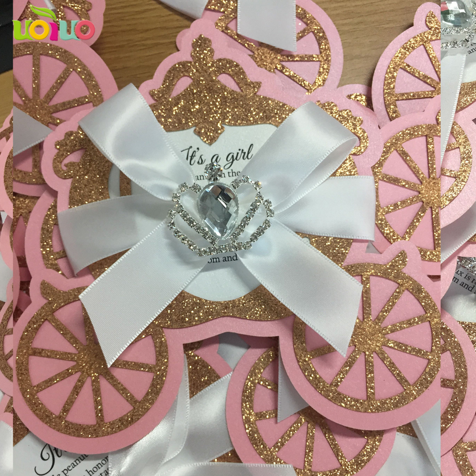 US $3.3 glitter lovely laser cut simple unique Carriage baby kid birthday  invitation cards Christening invitation cards custom printingcard