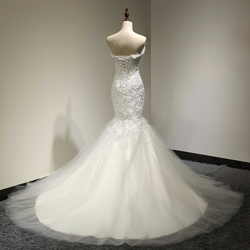 Sweetheart Beaded Lace Tulle Mermaid Wedding Dress